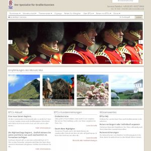 Startseite der British Travel Company